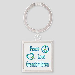 Peace Love Grandchildren Square Keychain