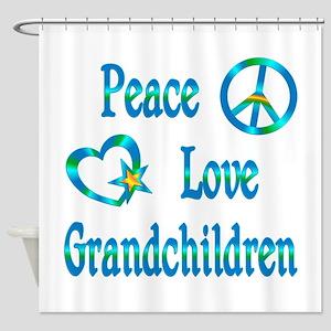 Peace Love Grandchildren Shower Curtain