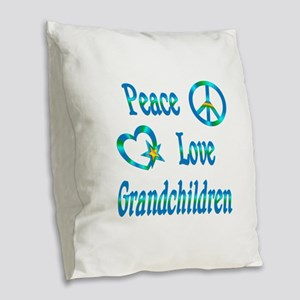 Peace Love Grandchildren Burlap Throw Pillow