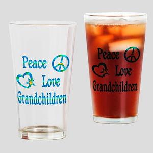 Peace Love Grandchildren Drinking Glass