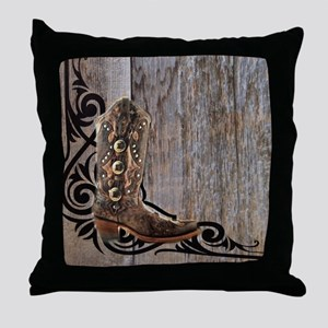 cowboy boots barnwood Throw Pillow