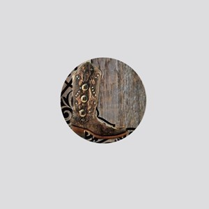 cowboy boots barnwood Mini Button