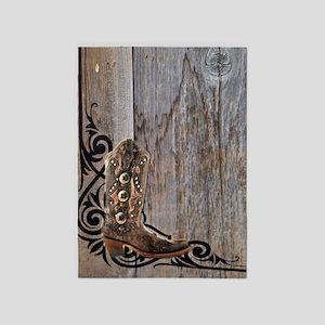 cowboy boots barnwood 5'x7'Area Rug