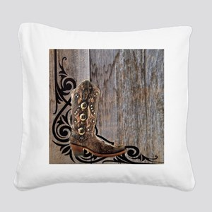 cowboy boots barnwood Square Canvas Pillow
