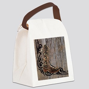cowboy boots barnwood Canvas Lunch Bag