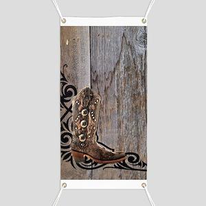cowboy boots barnwood Banner