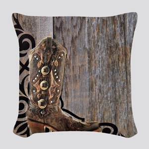 cowboy boots barnwood Woven Throw Pillow