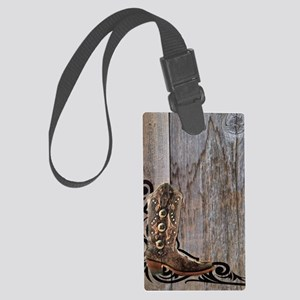 cowboy boots barnwood Large Luggage Tag