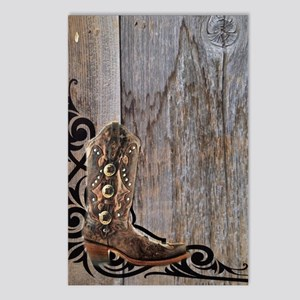 cowboy boots barnwood Postcards (Package of 8)