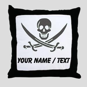 Custom Black Linen Calico Jack Skull Throw Pillow