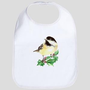 Cute Watercolor Chickadee Bird Holly Berry Christm