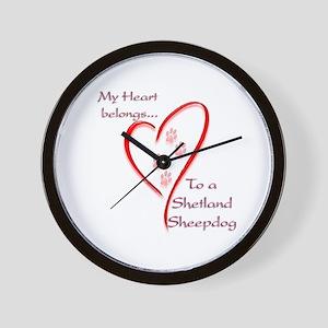 Shetland Sheepdog Heart Belongs Wall Clock