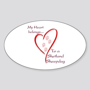 Shetland Sheepdog Heart Belongs Oval Sticker