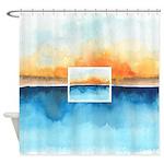 Orange Rays Permeate Shower Curtain