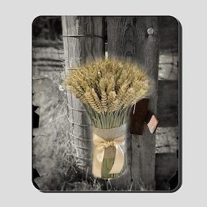 farm fence wheat bouquet Mousepad