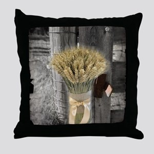farm fence wheat bouquet Throw Pillow