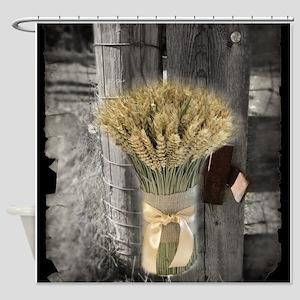 farm fence wheat bouquet Shower Curtain
