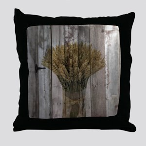 barnwood wheat bouquet Throw Pillow