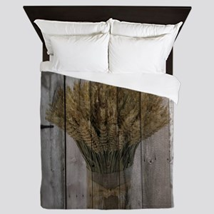 barnwood wheat bouquet Queen Duvet