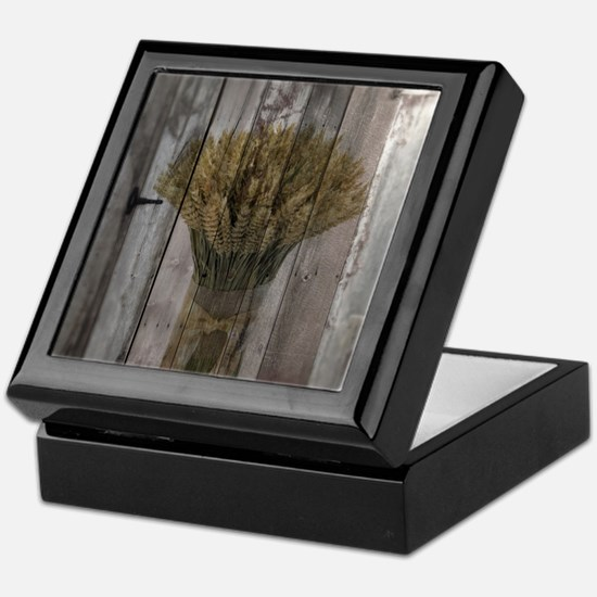 barnwood wheat bouquet Keepsake Box