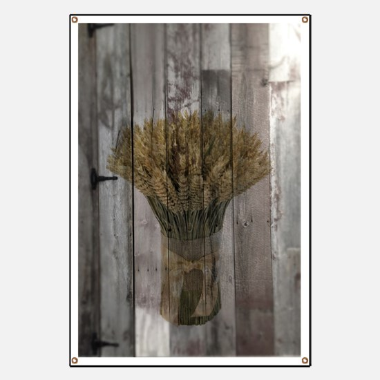 barnwood wheat bouquet Banner