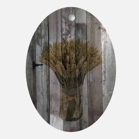 barnwood wheat bouquet Oval Ornament