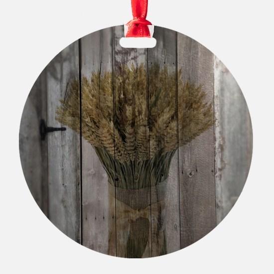 barnwood wheat bouquet Ornament