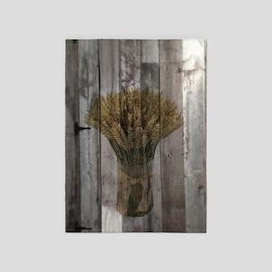 barnwood wheat bouquet 5'x7'Area Rug