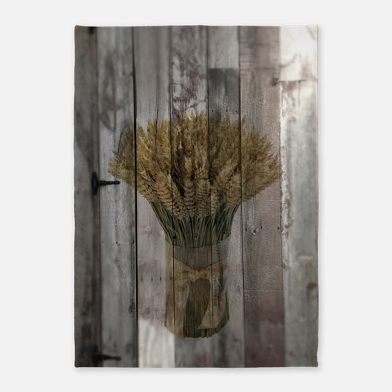 barnwood wheat bouquet 5'x7'Area Rug