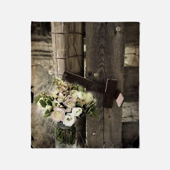 farm fence floral bouquet Throw Blanket