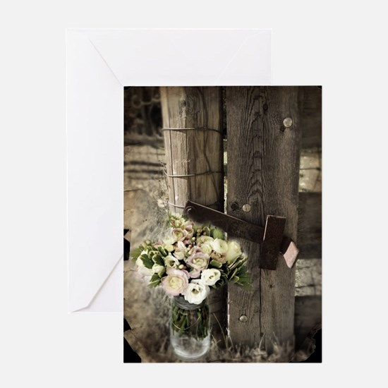 farm fence floral bouquet Greeting Card