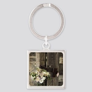 farm fence floral bouquet Square Keychain
