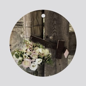 farm fence floral bouquet Round Ornament
