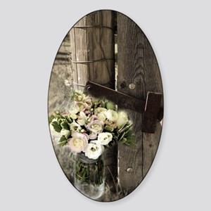 farm fence floral bouquet Sticker (Oval)