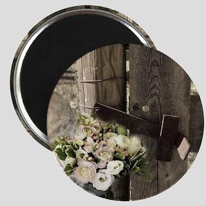 farm fence floral bouquet Magnet
