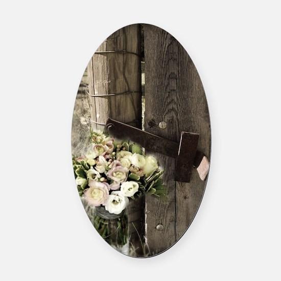 farm fence floral bouquet Oval Car Magnet