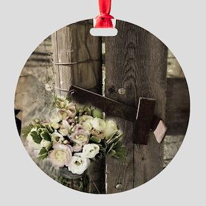 farm fence floral bouquet Round Ornament