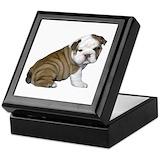 Bulldog puppies Square Keepsake Boxes