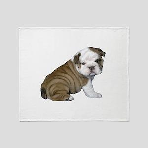 English Bulldog Puppy1 Throw Blanket
