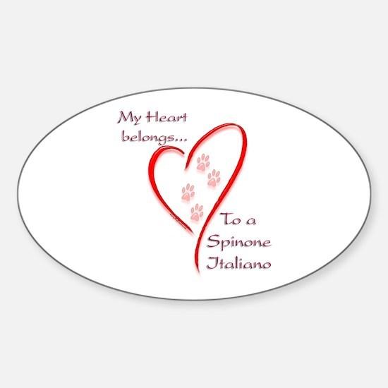 Spinone Heart Belongs Oval Decal