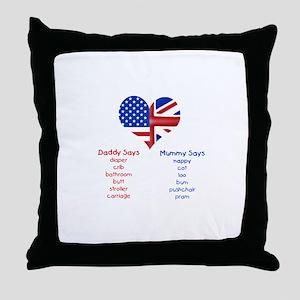 American Daddy, English Mummy Throw Pillow