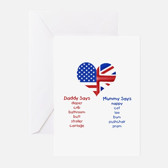American Daddy, English Mummy Greeting Cards (Pack