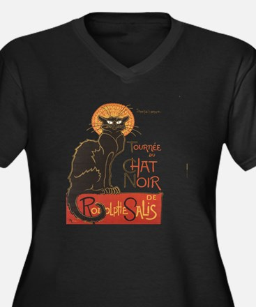 Steinlen Cat Women's Plus Size Dark V-Neck T-Shirt