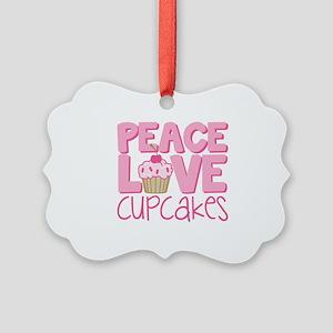 Peace Love Cupcake Picture Ornament
