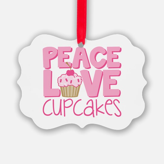 Peace Love Cupcake Ornament