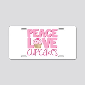 Peace Love Cupcake Aluminum License Plate