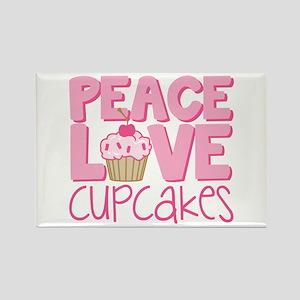 Peace Love Cupcake Rectangle Magnet