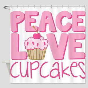 Peace Love Cupcake Shower Curtain