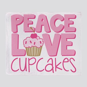 Peace Love Cupcake Throw Blanket