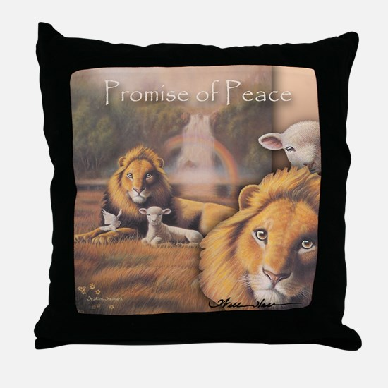 """""""Promise of Peace"""" Fine Art Lion and Lamb Pillow"""